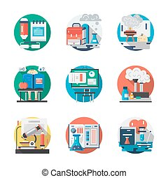 Set of school chemistry detailed flat vector icons -...