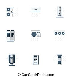 Air cooling equipment color flat vector icons set -...