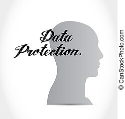 Data Protection thinking brain sign illustration design...