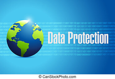 Data Protection binary globe sign illustration