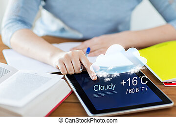 close up of woman with weather cast on tablet pc - people,...