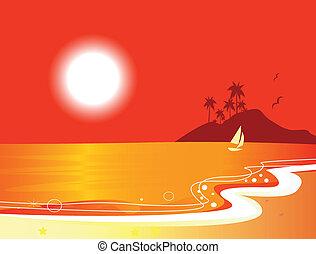 Sunny red beach coastal and ocean
