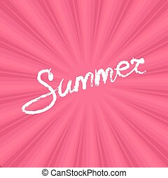 Text Summer on Pink Background
