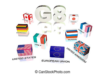 Great Eight - 3d cubic flags of Great Eight countries on...
