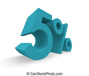 Five percent 3d rendering - Five percent in turquoise on a...