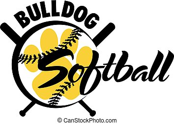 bulldog softball team design with paw print inside ball for...
