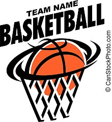basketball team design with ball and net for school, college...