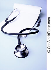 Stethoscope - A stethoscope and a prescription pad
