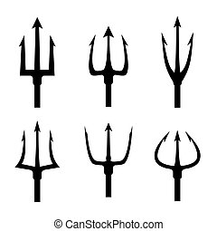 Black trident silhouette vector set. Pitchfork tool object,...