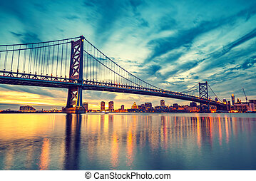Ben Franklin Bridge in Philadelphia at sunset