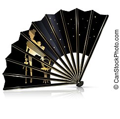 black cabaret fan - white background and the black cabaret...