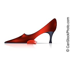 red shoe and small petal - white background and the red...