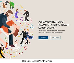Couple dancing Kizomba in bright costumes. Vector illustration of partners dance bachata, happy peoples man and woman ballroom dancing poster, Bachata, roomba salsa latino dancer concept for poster, banner or flyer