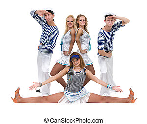 Carnival dancer team dressed as sailors. Isolated on white...