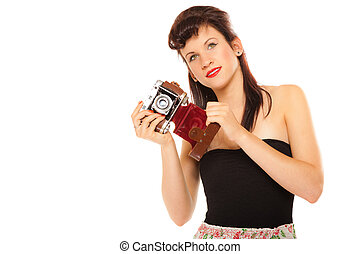 Lovely teen girl with old camera - Beautiful photographer....