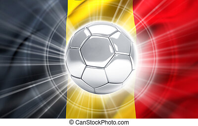 Belgium soccer champion - Silver soccer ball illuminated on...