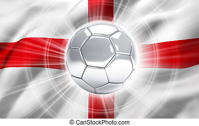 England soccer champion - Silver soccer ball illuminated on...