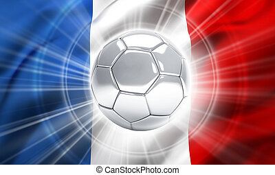 France soccer champion - Silver soccer ball illuminated on a...