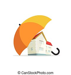 House insurance concept, home real estate protected under umbrella, protection