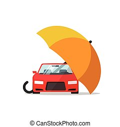 Car insurance vector concept, auto protection, umbrella cover automobile illustration