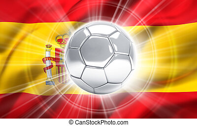 Spain soccer champion - Silver soccer ball illuminated on a...
