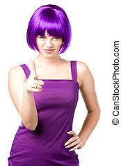 beautiful woman - young beautiful woman in purple wig and...