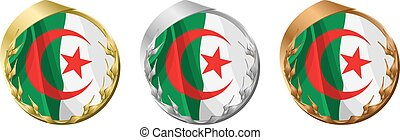 Medals Algeria - A gold, silver and bronze medal with the...