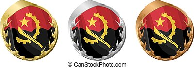 Medals Angola - A gold, silver and bronze medal with the...