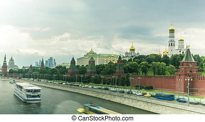 Moscow Kremlin, river boats and heavy clouds summer 4K long...