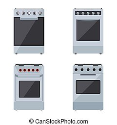 Gas stoves set on a white background