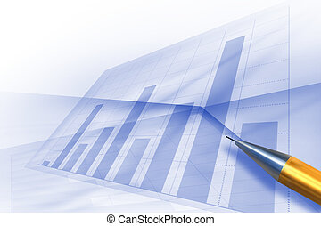 Stock charts computer diagram - Abstract blue background of...
