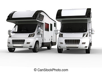 Two camper vans side by side - isolated on white background