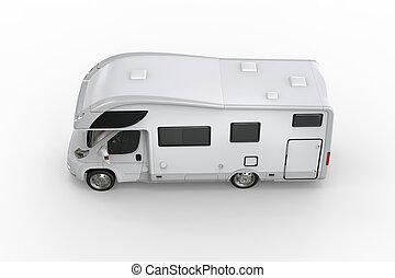 White camper vehicle - top side view