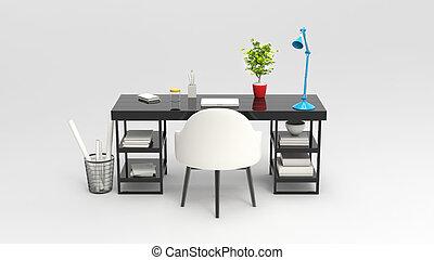 3D illustration of modern work space - studio shot - back...
