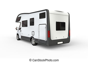 White camper vehicle - rear view