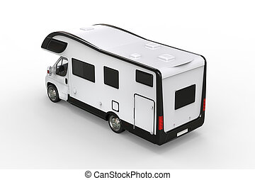 Black and white camper vehicle - taillight view - isolated...
