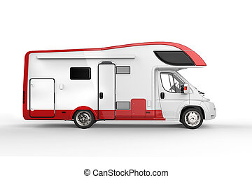 Big white and red camper vehicle - isolated on white - side...