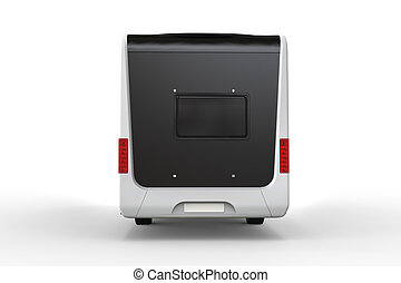 Black and white camper vehicle - rear view