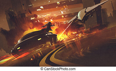 spacecraft chasing futuristic car - chase scene of...