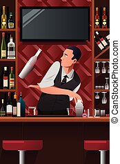 Bartender in Action - A vector illustration of acrobatic...