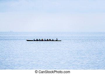 éxito, timonel, remo,  motiv, equipo, por, espíritu, barco