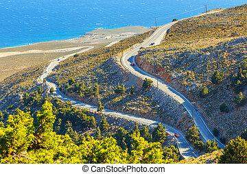 nuevo, Curvy, camino, cerca, Chora, Sfakion, pueblo, en,...