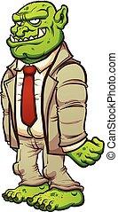 Cartoon troll in a business suit. Vector clip art...