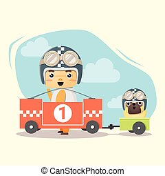 Little boy racer and friend , vector, illustration