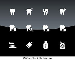 Tooth, teeth icons on black background. Vector illustration.
