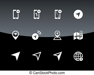 Navigator icons on black background. Vector illustration.