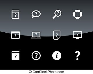 Help and FAQ icons on black background. Vector illustration.