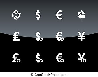 Exchange Rate icons on black background Vector illustration...