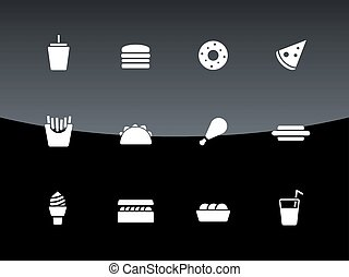 Fast food icons on black background Vector illustration