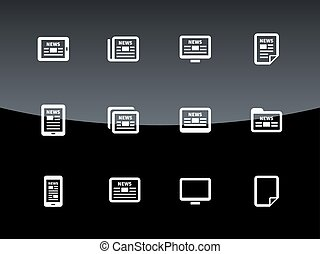 Newspaper icons on black background Vector illustration